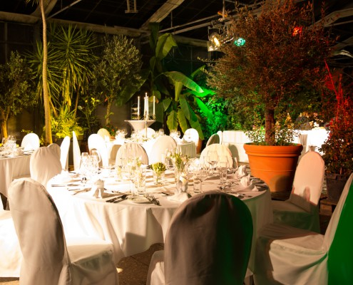 Palmenhaus festlich eingedeckt, Partyservice München